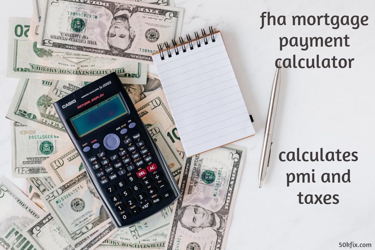 FHA Payment Calculator - Calculate FHA Loan Payment With Latest Updated Html Software - Calculates: Interest, PMI And Taxes